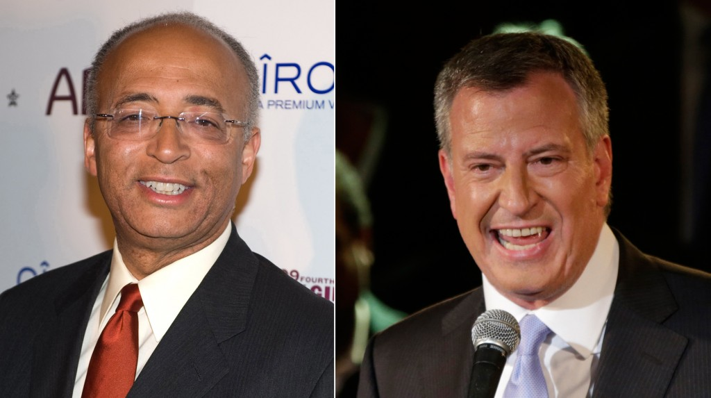 In this combo Democratic Mayoral candidates Bill Thompson, left, is seen in this Saturday, Oct. 17, 2009 file photo and Bill De Blasio is seen in this Wednesday, Sept. 11, 2013. (AP Photos)