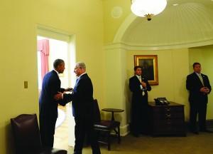 President Barack Obama and Prime Minister Binyamin Netanyahu at the Oval Office of the White House in Washington, DC, on Monday.  (Kobi Gideon/GPO/Flash90)
