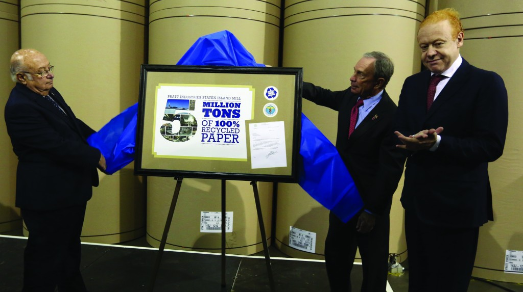 Mayor Michael Bloomberg on Tuesday marks the 5-millionth ton of recycled paper at Staten Island Paper Mill, as part of his goal of doubling the recycling rate by 2017. (Spencer T Tucker)