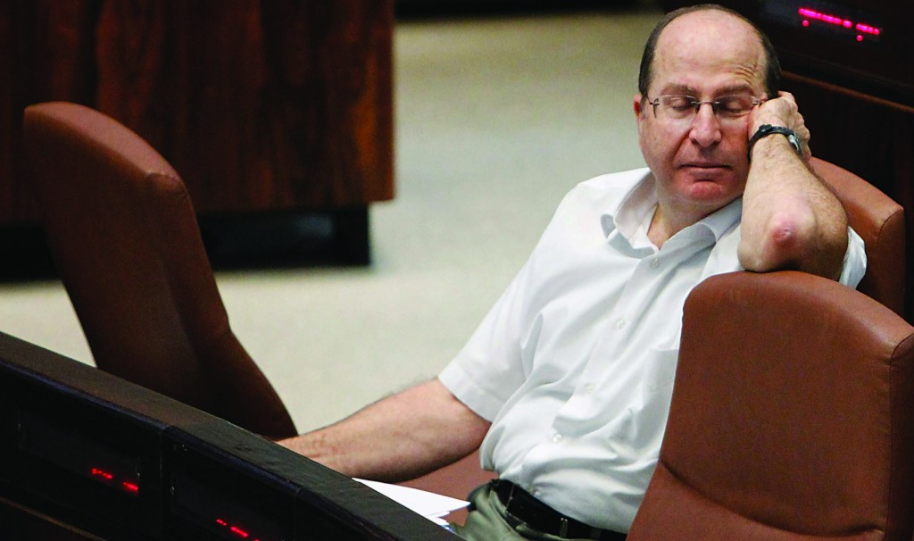 Israeli Defense Minister Moshe Yaalon shrugged off a question about whether the missile test might have been ill-timed. (Miriam Alster/FLASH90)