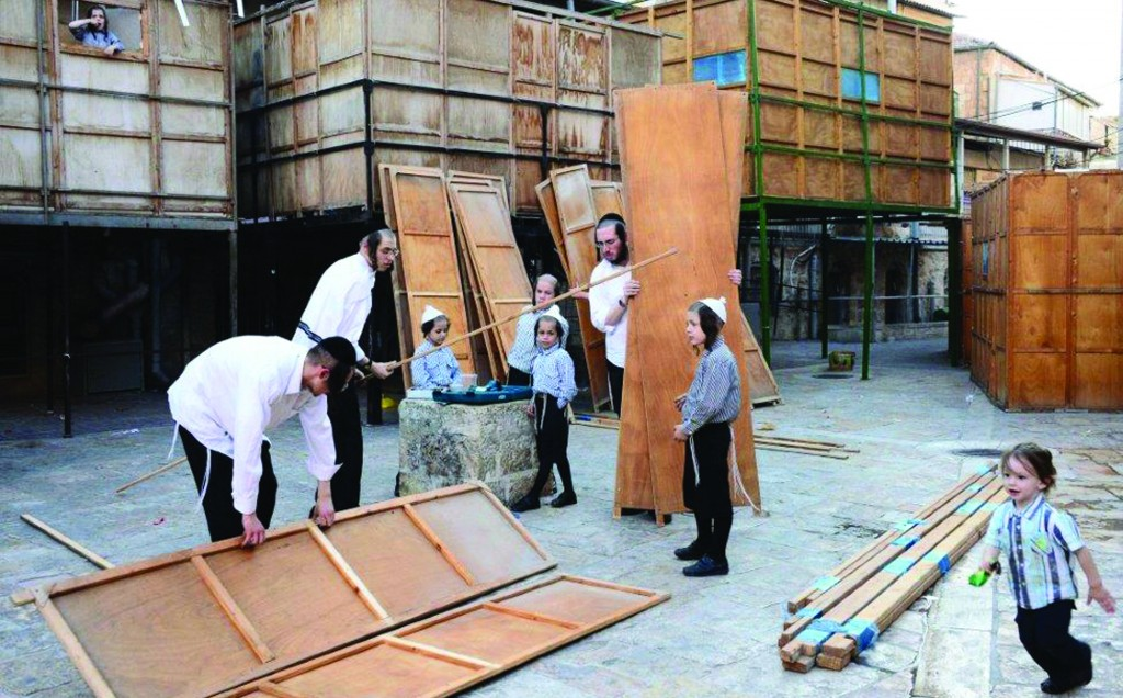 Sukkos preparations underway in Yerushalayim.(JDN)