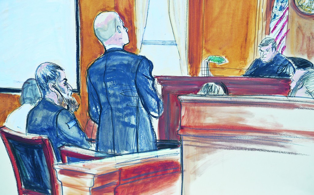 In this courtroom sketch, Abu Anas al-Libi, 49, second from left, sits as his lawyer David Patton, second from right, address Judge Lewis Kaplan, far right, in a federal courtroom in New York, Tuesday. (AP Photo/Elizabeth Williams)
