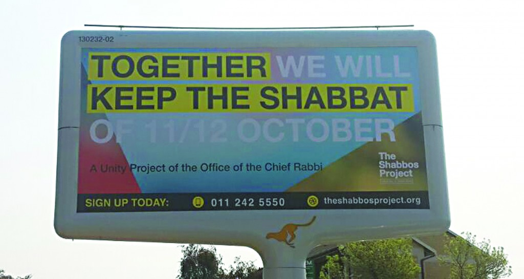 A sign advertising The Shabbos Project in South Africa.