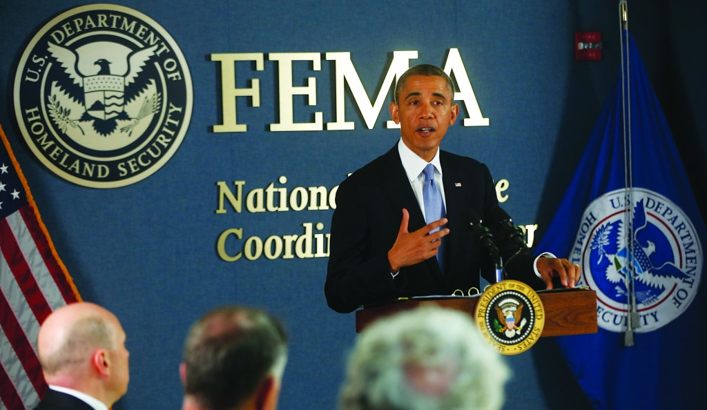 President Obama makes a statement about the government shutdown as he visits Federal Emergency Management Agency (FEMA) headquarters in Washington, Monday  (AP Photo/Charles Dharapak)