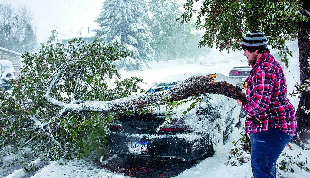 Zack Ruml, 20, of Rapid City, S.D, lifts a heavy, crabapple tree branch off of his 1998 Pontiac Grand Prix on Friday. (AP Photo/Steve McEnroe)