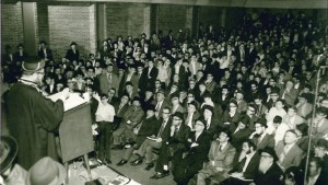 "Harav Ovadiah Yosef, zt""l, speaking to talmidim of Yeshivah Torah Vodaath in the 1970s."