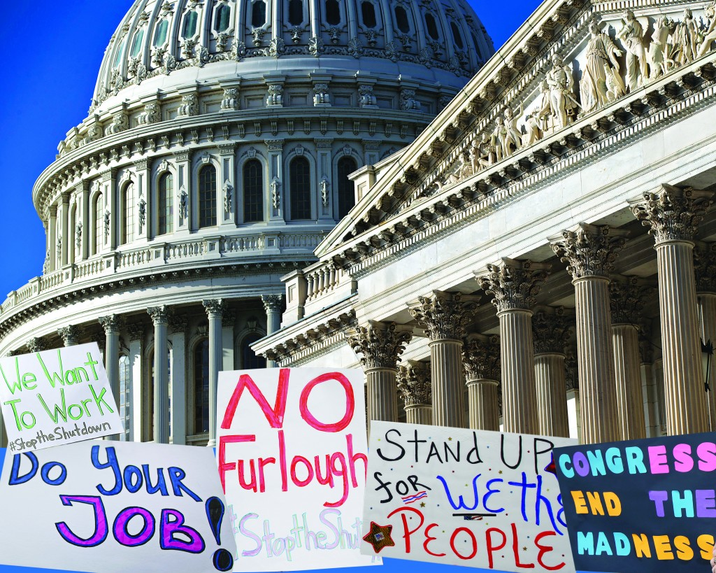 The Senate, right, and the Capitol Dome are seen in Washington. Harry Reid and Mitch McConnell, the Senate's top two leaders, both expressed optimism that they were closing in on an agreement to prevent a national financial default and reopen the government after a two-week partial shutdown. Shown are some of the signs held by protesters in different parts of the country. (AP Photo/J. Scott Applewhite)