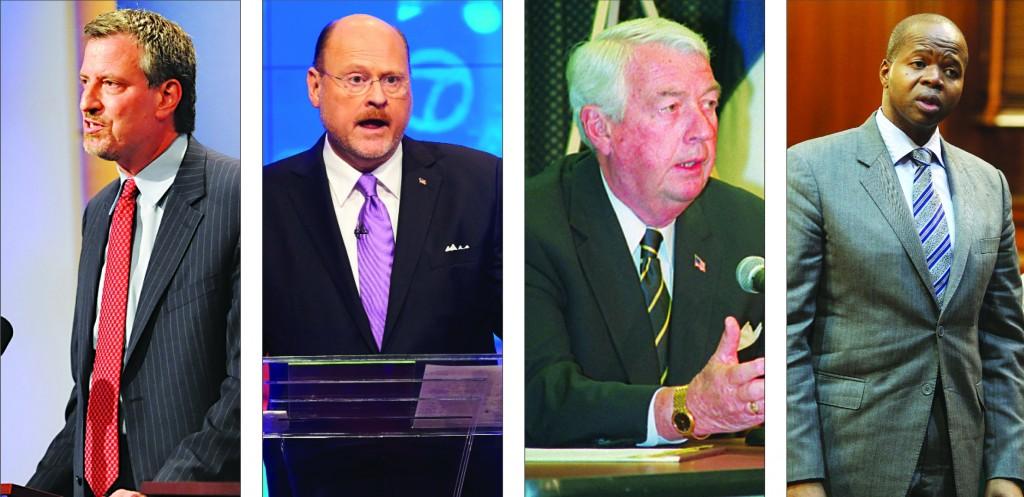 L-R: Democratic mayoral candidate Bill de Blasio; Republican mayoral candidate Joe Lhota; Incumbent Brooklyn DA Charles Hynes; Challenger Kenneth Thompson.