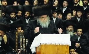 The Belzer Rebbe delivers his message Motzoei Simchas Torah.