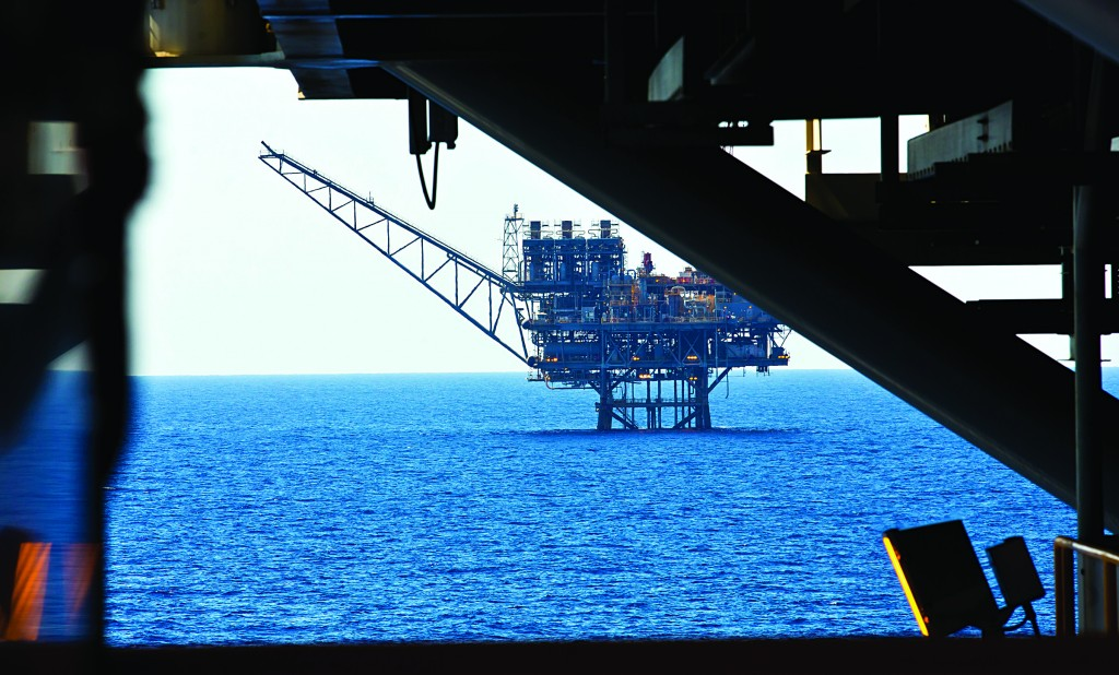 A view of the Israeli 'Tamar' gas processing rig 24 km off the Israeli southern coast of Ashkelon. Noble Energy and Delek are the main partners in the Tamar gas field, estimated to contain 10 trillion cubic feet of gas. (Moshe Shai/FLASH90)