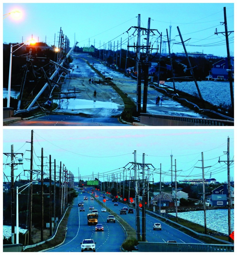 This combination of Oct. 30, 2012 and Oct. 22, 2013 photos shows downed power lines and a battered road smashed by Superstorm Sandy in Seaside Heights, N.J., and traffic flowing at the same site nearly a year later. (AP Photo/Julio Cortez)