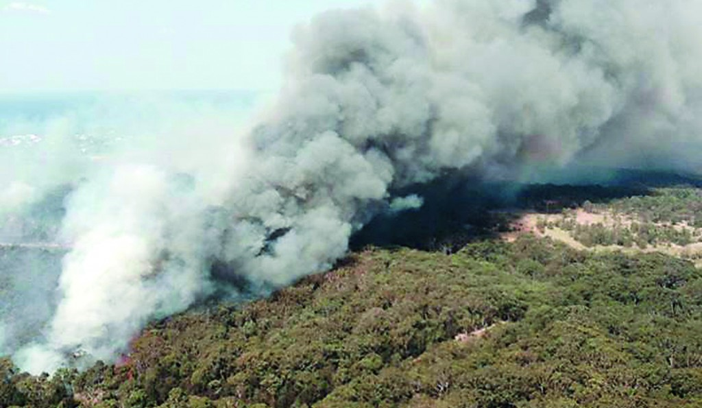 In this photo provided by the New South Wales Rural Fire Service, smoke rises from a wildfire near Lake Macquarie, New South Wales, Australia, Wednesday. (AP Photo/NSW Rural Fire Service)