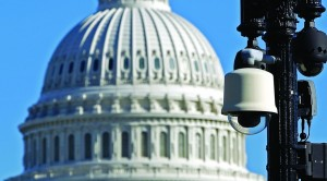 Surveillance cameras near the U.S. Capitol in Washington during a rally to protest against the National Security Agency's spying on Americans and to demand action from Congress on its mass surveillance programs. (AP Photo/Jose Luis Magana)