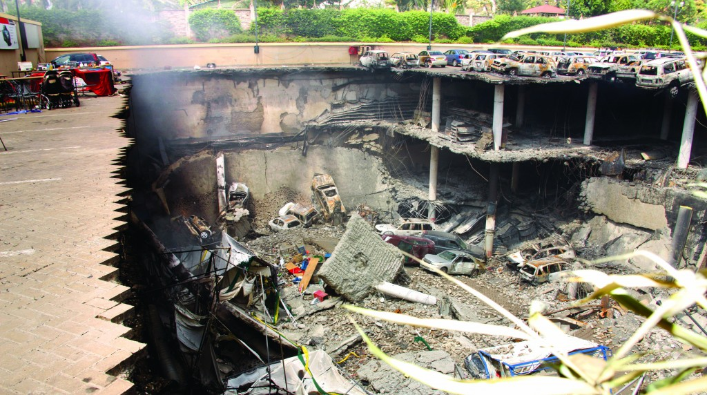 The collapsed upper car park of the Westgate Mall in Nairobi, Kenya, during the terrorist attack a month ago. (AP Photo/Kenya Presidency)