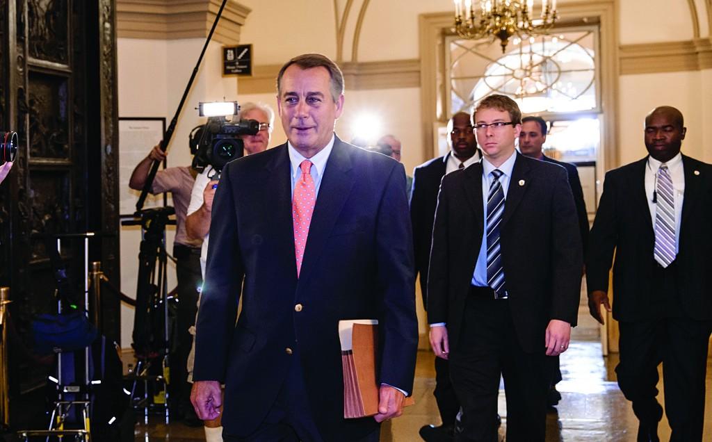Speaker of the House John Boehner (R-Ohio), arrives at the Capitol in Washington, Saturday. (AP Photo/J. Scott Applewhite)