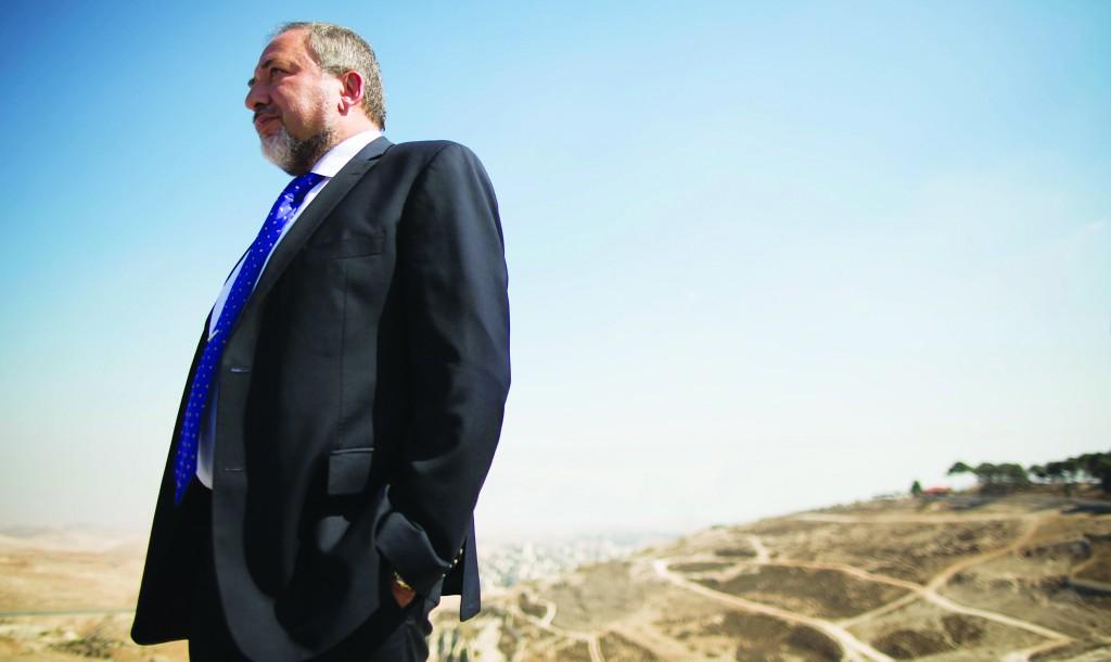 Avigdor Lieberman seen near the Mount Scopus National Park in Yerushalayim this week. (Yonatan Sindel/Flash90)