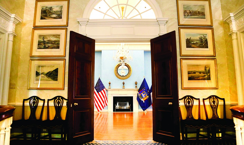(L-R, clockwise) An entrance to Gracie Mansion's ballroom, the dining room, a painted wooden floor, and the exterior. (AP Photo/Seth Wenig)