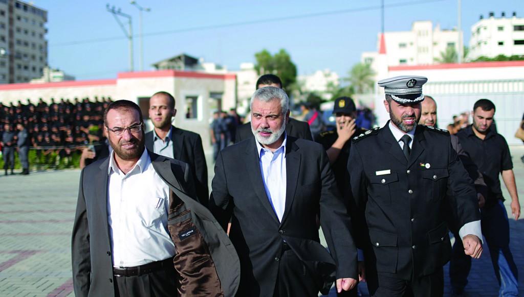 Hamas Prime Minister Ismail Haniyeh (C). (Wissam Nassar/Flash90)