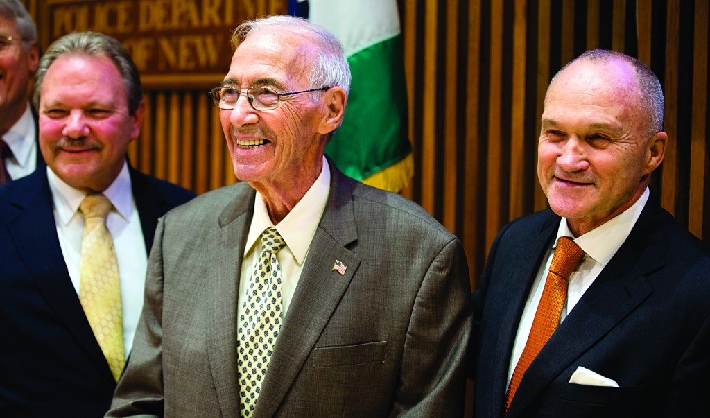 Closure: Former NYPD detective Jerry Giorgio (C) smiles on Saturday alongside Commissioner Ray Kelly (R) after a news conference about Baby Hope at One Police Plaza. (AP Photo/John Minchillo)