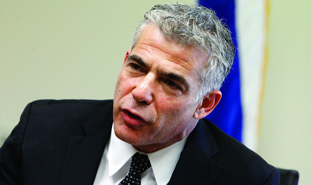 Israeli Finance Minister and leader of the Yesh Atid party Yair Lapid. (Miriam Alster/FLASH90 )