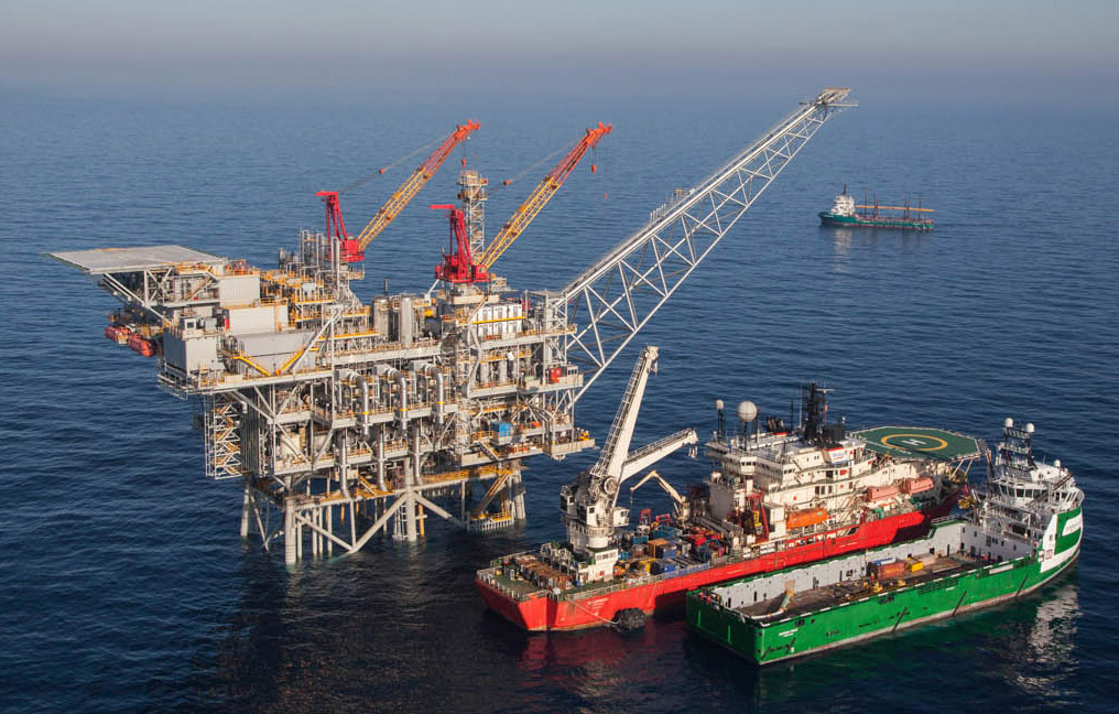 An aeriel view of the Israeli gas rig 'Tamar' situated about 80 km off the Israeli northern coast. Tamar was the first large-scale hydrocarbon resource discovered in international waters and claimed by Israel. After more than four years of drilling the flow of natural gas from the Tamar gas field has begun. Photo by Albatross Aerial photography/Nobel Energy/FLASH90