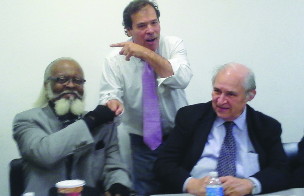 Jimmy McMillan, Randy Credico and Carl Person at the forum Tuesday. (Ross Barkan.Politicker)
