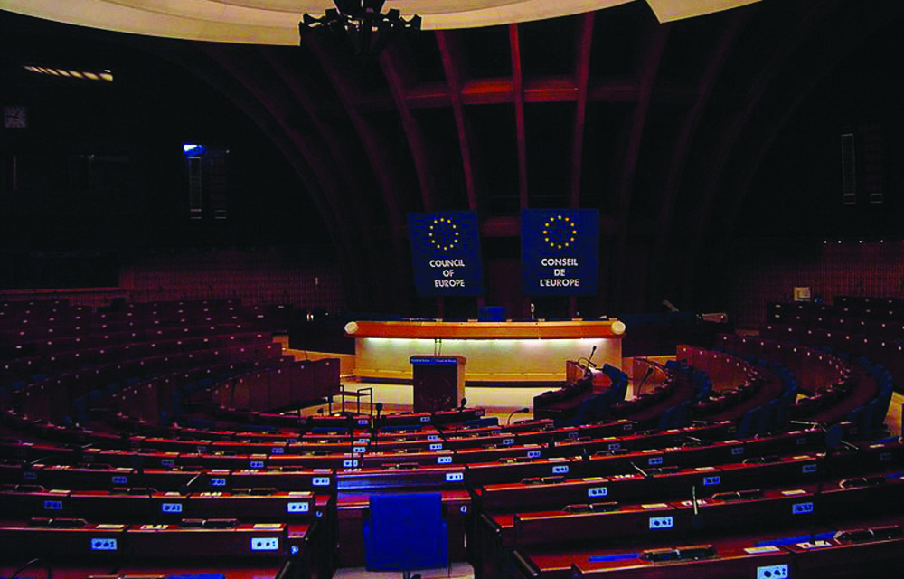 The hemicycle of the PACE at the Palace of Europe.