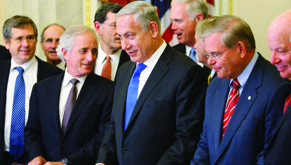 Israel's Prime Minister Netanyahu meets with Senate Foreign Relations Committee, including Chairman Menendez and ranking member Corker, at the U.S. Capitol in Washington