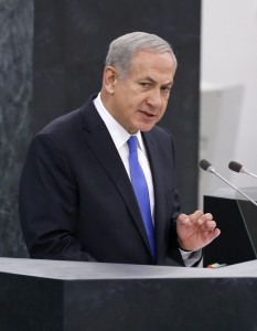 Prime Minister Binyamin Netanyahu addressing the 68th United Nations General Assembly at the U.N. headquarters in New York, last Tuesday. (REUTERS/Mike Segar)