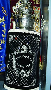 The new sefer Torah in the aron kodesh of Rabbi Rubin's shul.