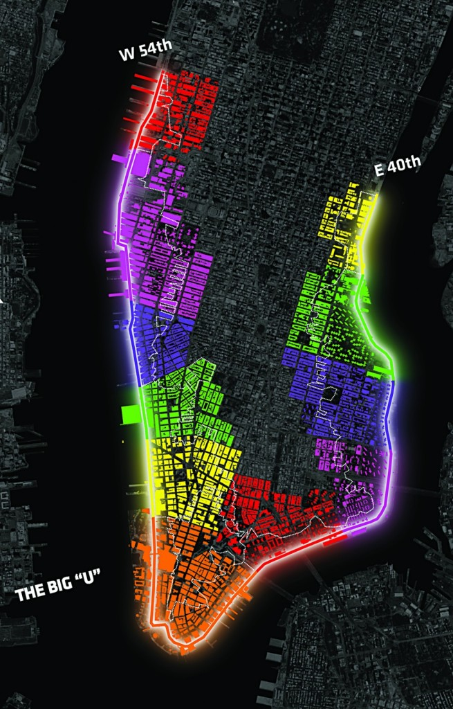 """This artist rendering provided by Rebuild by Design shows the plan for """"THE BIG 'U'"""", an 8-mile system of flood protections around the southern tip of Manhattan, proposed by a coalition of designers led by the Bjarke Ingels Group. Details of the barriers would change from neighborhood to neighborhood, and the aim would be to make them look like public art installations or natural pieces of waterfront parkland. The big """"U"""" is one of 41 projects ten teams of global experts participating in a federally funded design competition say could help protect the New York and New Jersey coastlines from the type of flooding seen a year ago during Superstorm Sandy. (AP Photo/ Bjarke Ingels Group via Rebuild by Design)"""