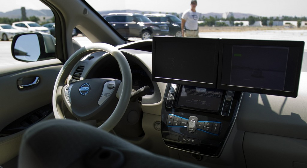 Radar and sensor screens are mounted on the dash of the Nissan Leaf Autonomous vehicle at the Nissan 360 press event, on September 10, 2013 in Irvine, California. (Gina Ferazzi/Los Angeles Times/MCT)
