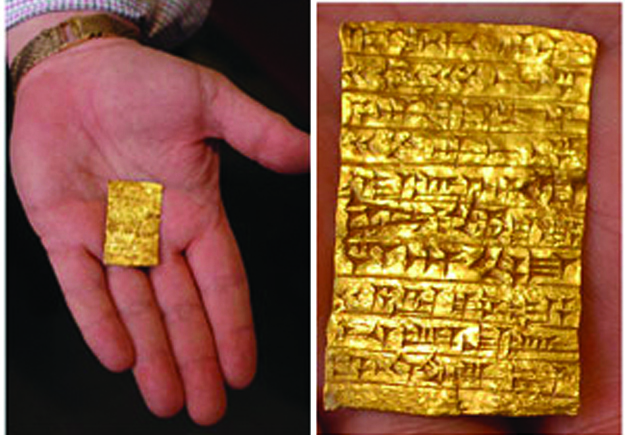 The ancient gold tablet. (Steven Schlesinger)