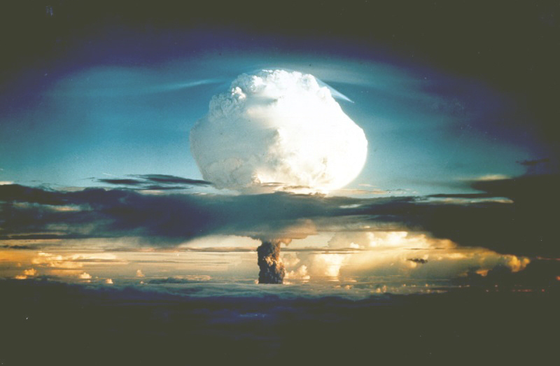 The mushroom cloud from Ivy Mike. Ivy Mike was exploded on Eniwetok Atoll by the United States on Oct. 31, 1952. It was the first hydrogen bomb, an experimental device not appropriate for use as a weapon.