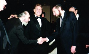 """(L-R:) Dr. David Moskovits, president of Endowment for Democracy in Eastern Europe, George Soros and Moshe (Paul) Reichman, z""""l."""
