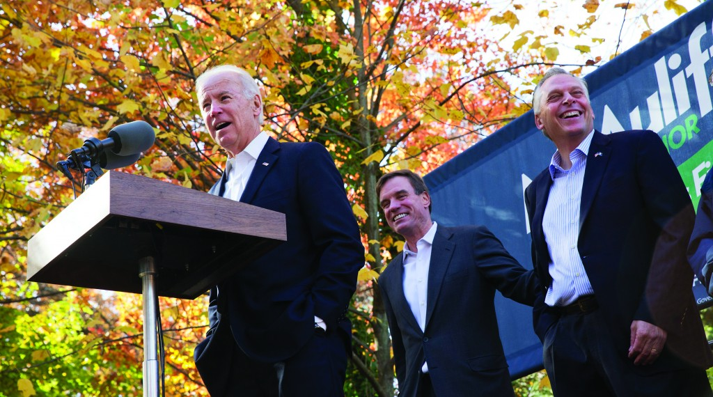 Vice President Joe Biden (L) speaks at a campaign event for Virginia Democratic gubernatorial candidate Terry McAuliffe (R), with Sen. Mark Warner (D-Va.) in Annandale, Va. on Monday. (AP Photo/Jacquelyn Martin)