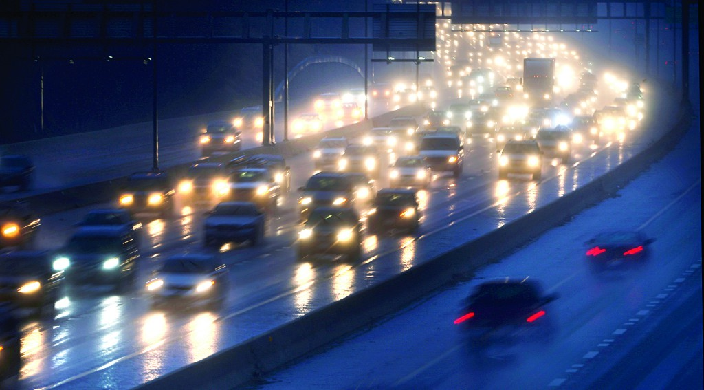 Motorists drive north in the rain on Interstate 270 out of Washington, Tuesday. (AP Photo/Charles Dharapak)