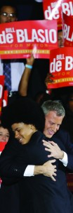 Bill de Blasio embraces his son Dante after he was elected the first Democratic mayor of New York City in 20 years. (Kathy Willen)