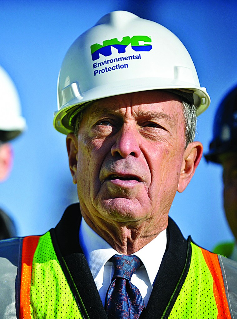 Mayor Michael Bloomberg speaks Monday at the Newburgh, N.Y., site where the DEP is constructing a bypass of the Delaware Aqueduct. (AP Photo/Times Herald-Record, Steve Borland)