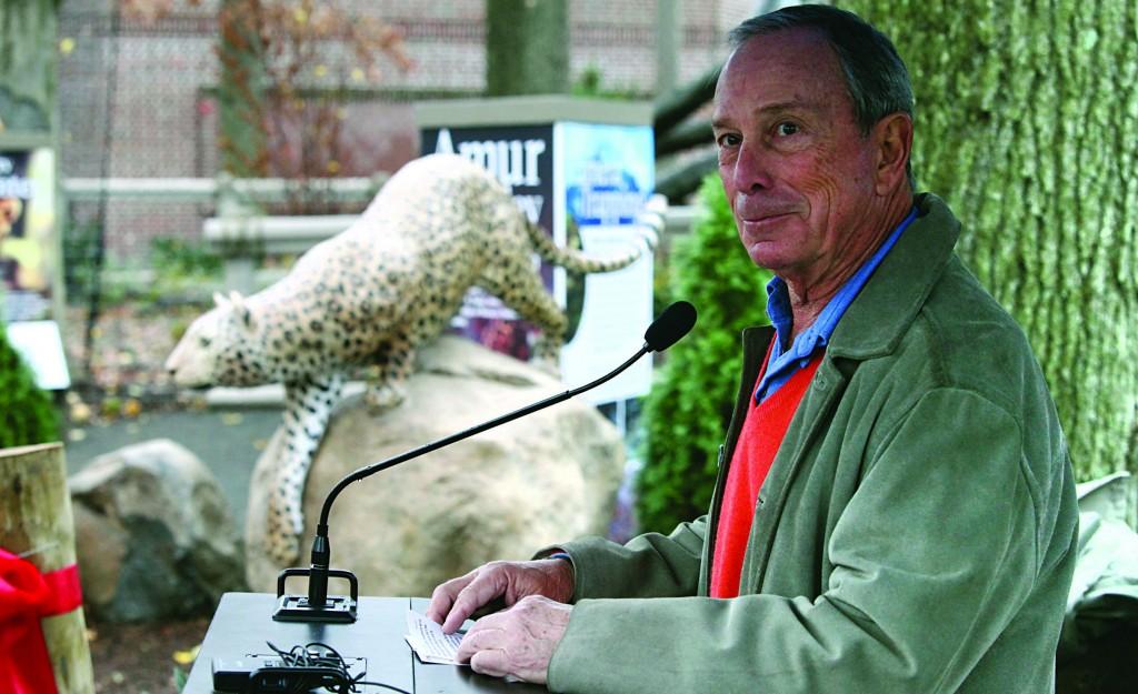 Mayor Bloomberg unveils a new leopard habitat at Staten Island Zoo on Friday. (Kristen Artz)