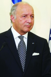 Foreign Minister of France, Laurent Fabius. (Photo Marc Israel Sellem/Pool/Flash90)