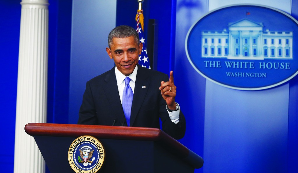 President Barack Obama speaks about his signature health care law in the Brady Press Briefing Room at the White House in Washington, Thursday. (AP Photo/Charles Dharapak)