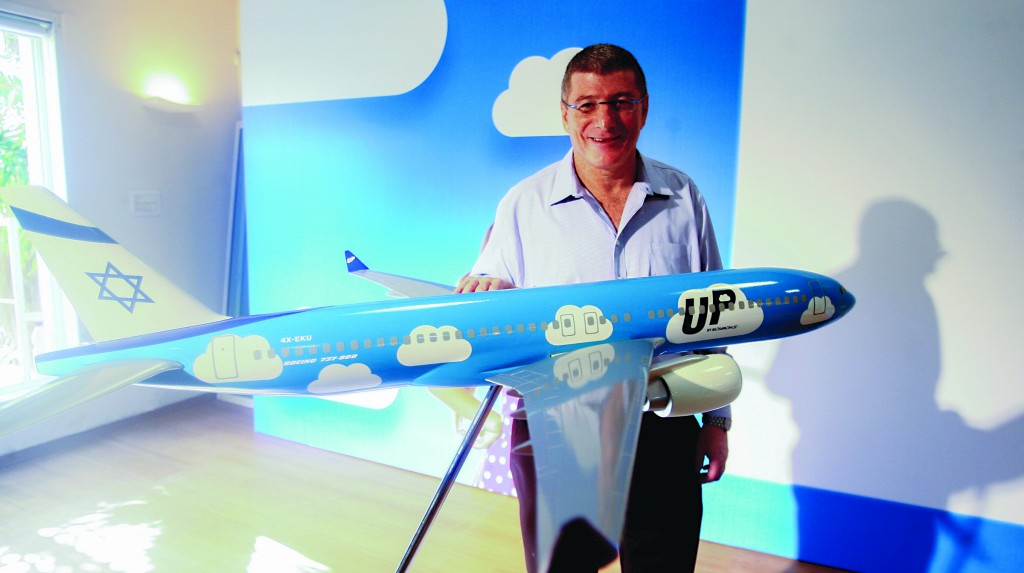 """Eliezer Shkedi, CEO of the Israeli national airline, El Al seen during a launching event for the new low-cost brand """"Up"""" in Tel Aviv. (Roni Schutzer/Flash90)"""
