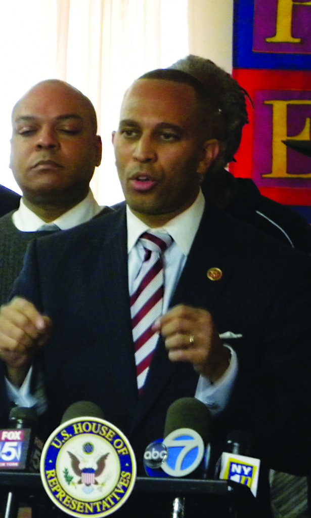Rep. Hakeem Jeffries speaking at a press conference Monday denouncing knockouts. (Office of Rep. Hakeem Jeffries)