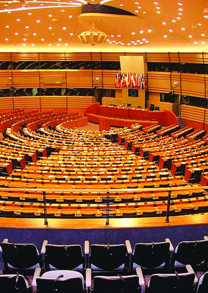 The hemicycle of the European Parliament in Brussels.