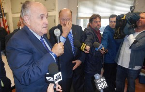 Former Mayor Rudy Giuliani campaigns with Joe Lhota in Staten Island on Friday.