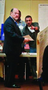 Joe Lhota votes at his Brooklyn Heights polling station on Tuesday. (AP Photo/Bebeto Matthews)