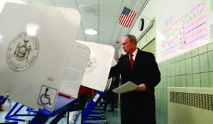 Mayor Michael Bloomberg votes on Tuesday in Manhattan. (Kristen Artz)