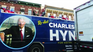 A campaign bus for Brooklyn District Attorney Charles Hynes on Monday rumbles through Boro Park's 13th Avenue. (JDN)