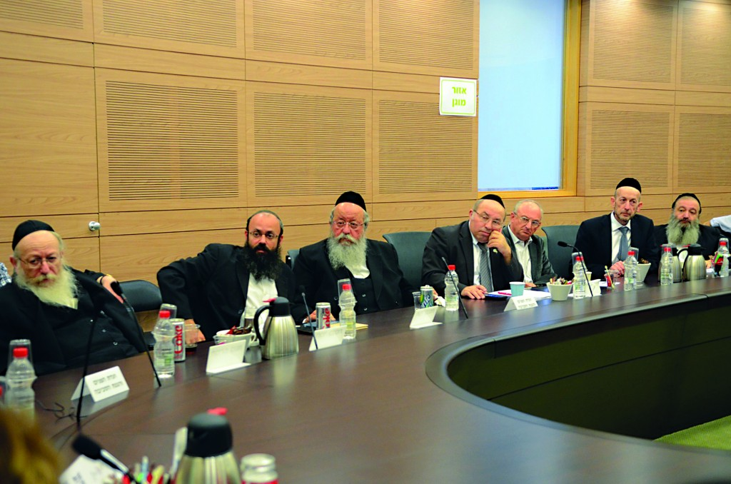 Some of the chareidi MKs at the special hearing on the security of Har Hazeisim convened by the Knesset's Interior Committee.